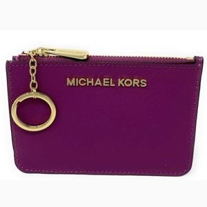 MICHAEL KORS JET SET TRAVEL SMALL LEATHER POUCH